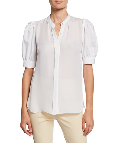 Kalila Button-Front Short-Sleeve Blouse