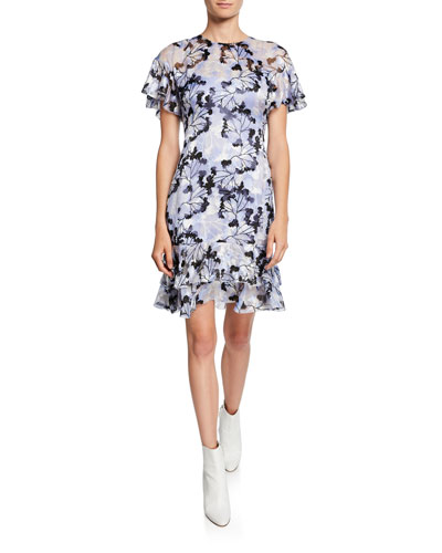 Yonica Printed Flutter-Sleeve Dress