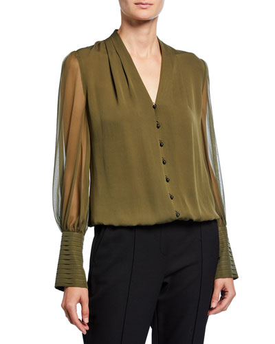 Skylar V-Neck Button-Front Blouson-Sleeve Silk Blouse