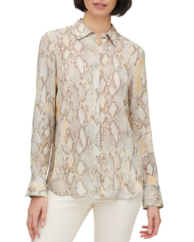 Scottie Sidewinder Snake-Print Button-Down Blouse