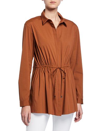 bd17e724704 Lisa Italian Stretch-Cotton Button-Down Blouse w  Drawstring-Waist