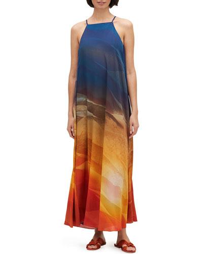 Leonissa Textured Desert High-Neck Sleeveless Maxi Dress