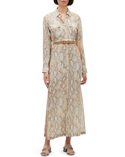 Doha Sindewinder Snake-Print Long-Sleeve Belted Dress