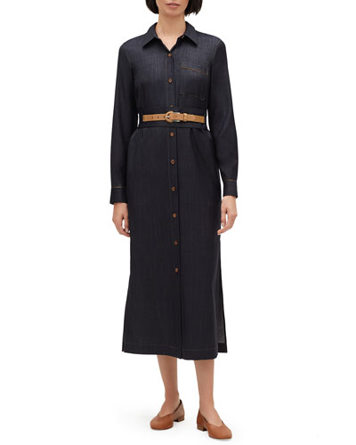Madra Mercantile Cloth Button-Front Long-Sleeve Belted Dress