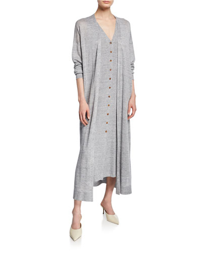 Button-Front Linen/Viscose Relaxed Cardigan