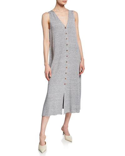 Linen/Viscose Button-Front Knit Dress