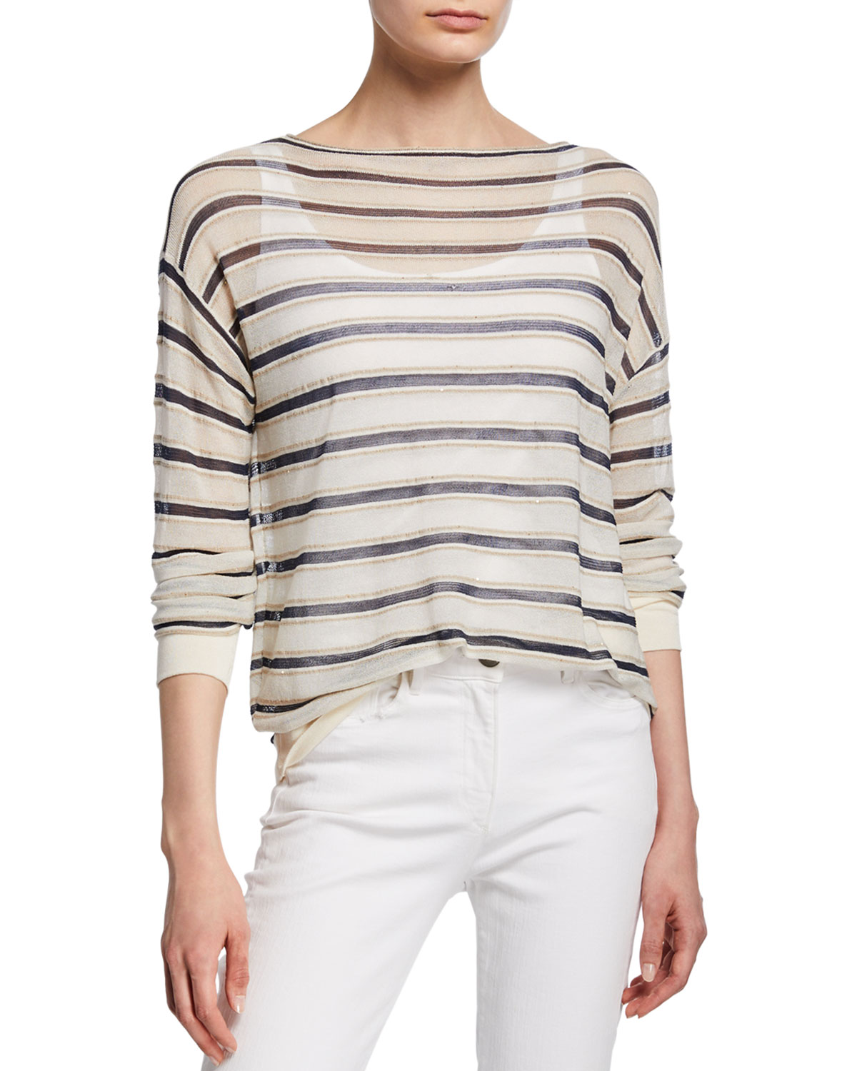 Striped Finespun Voile Bateau-Neck Long-Sleeve Pullover