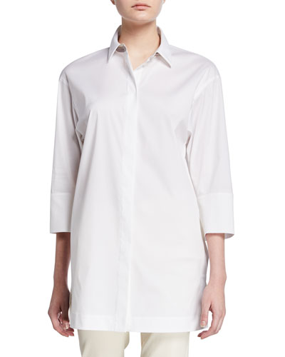 Button-Down 3/4-Sleeve Shirt with Chain Detail