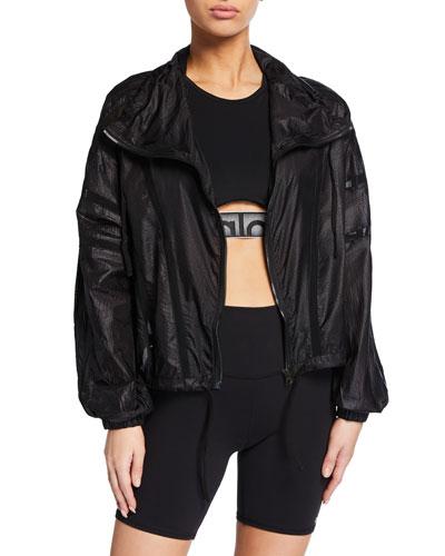 Stitch Zip-Front Mesh Active Jacket
