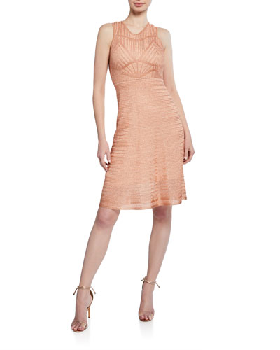 Striped Metallic Sleeveless Dress