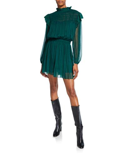 Mock-Neck Blouson-Sleeve Silk Crinkle Chiffon Dress
