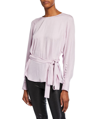 Long-Sleeve Twill Wrap Blouse