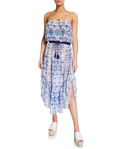 Luna Printed Strapless Dress