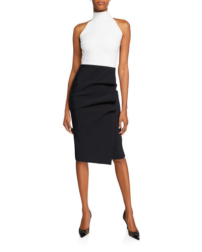 Sabinka Colorblock Halter Dress w/ Ruched Skirt