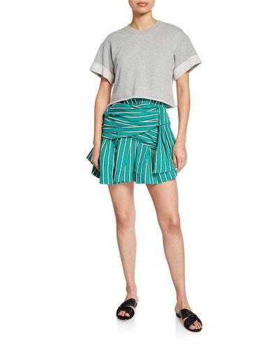 2-in-1 Striped Tie-Waist Dress w/ Sweatshirt