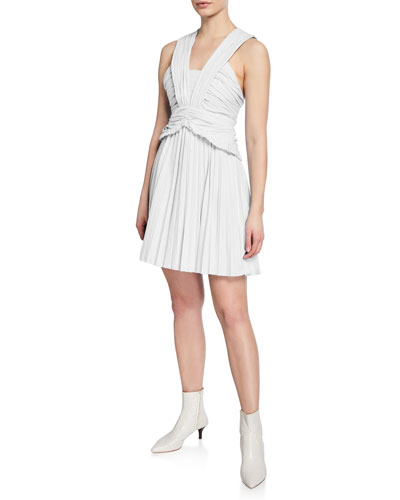 Ruched Pleated Mini Dress