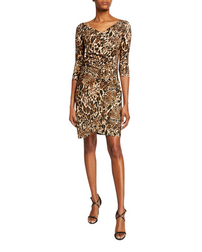 Emerentienne Leopard-Print 3/4-Sleeve Dress