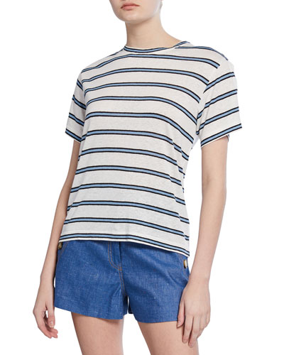 Striped Crewneck Short-Sleeve Tee w/ Slit Detail