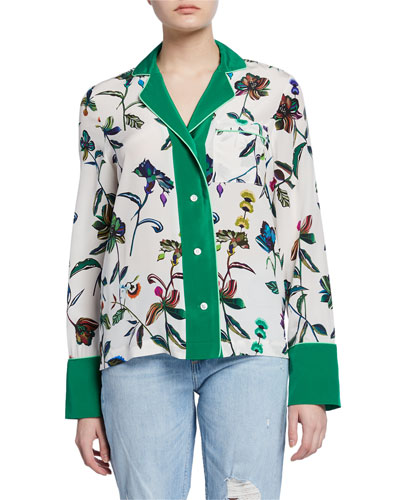 Floral-Print Button-Front Long-Sleeve Silk Pajama Shirt