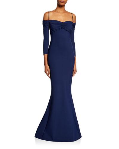 Hela Sweetheart Cold-Shoulder 3/4-Sleeve Mermaid Gown