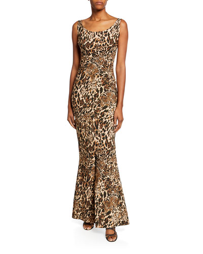 Manishanor Leopard-Print Scoop-Neck Sleeveless Trumpet Gown
