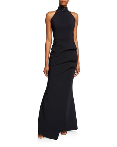 Slavinka Beaded-Neck Halter Gown