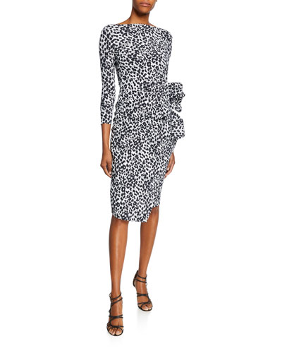 Zelma Side-Shirred Printed Dress