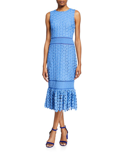 Sleeveless Combo Lace Sheath Dress