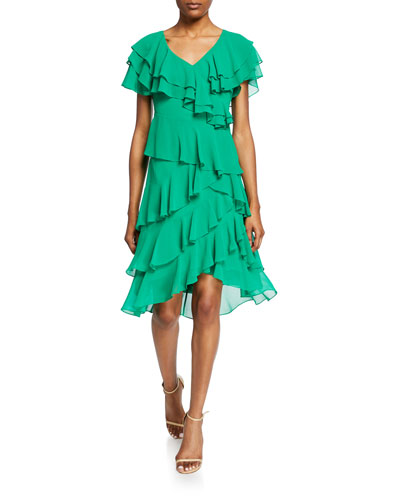 Cattiva V-Neck Short-Sleeve High-Low Tiered Ruffle Dress