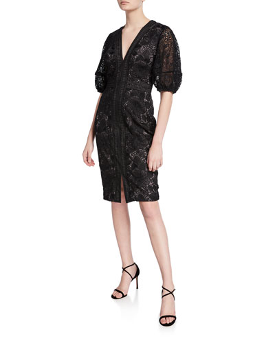 V-Neck Blouson-Sleeve Lace Sheath Dress