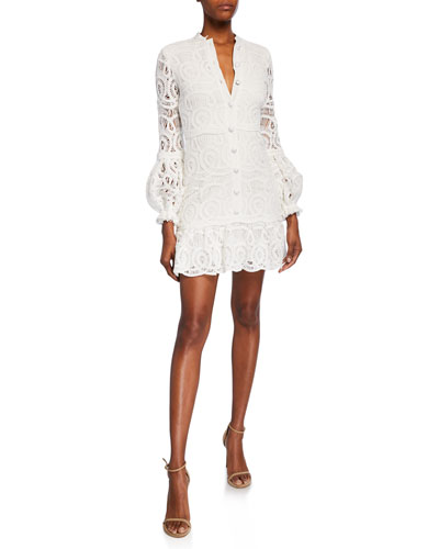 Liliyan Balloon-Sleeve Mini Crochet Dress