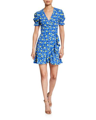 Emilia Floral Short-Sleeve Wrap Dress
