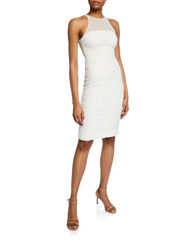 High-Neck Sleeveless Ruched Cocktail Dress