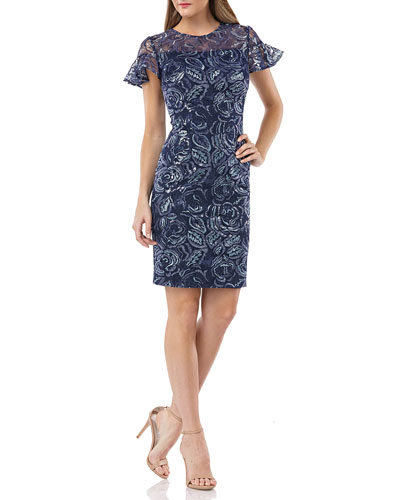 Embroidered Ruffle-Sleeve Cocktail Dress