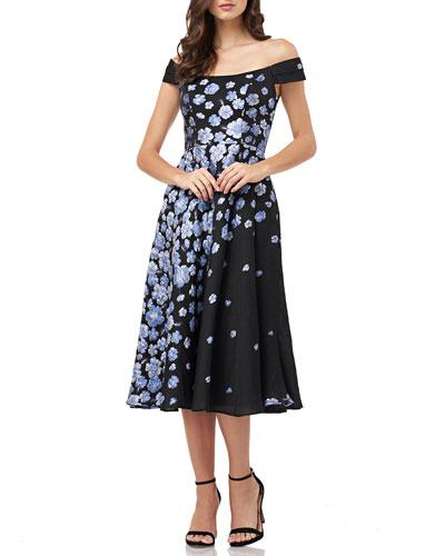 Off-the-Shoulder Floral Jacquard Fit-&-Flare Cocktail Dress