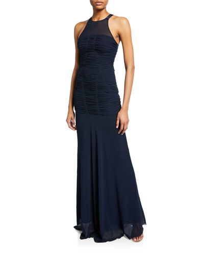 Sleeveless High-Neck Fitted Ruching Gown