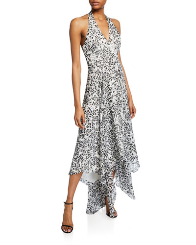 Sleeveless Printed Halter Gown with Handkerchief Hem