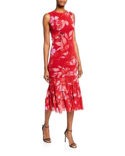 Sleeveless Leaf-Print Shirred Tank Dress