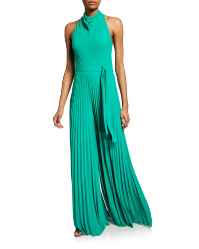 Sleeveless Cowl-Neck Flowy-Leg Jumpsuit