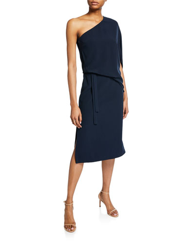 4e30e7908e51 Draped One-Shoulder Asymmetric Dress Quick Look. Halston Heritage