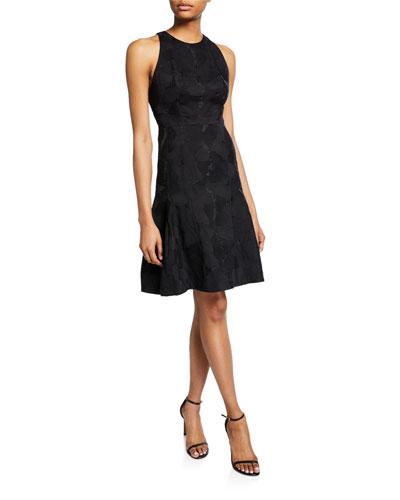 Sleeveless High-Neck Tulip Fit-&-Flare Jacquard Dress
