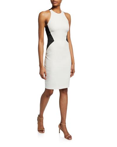 Colorblock Sleeveless Crepe Halter Dress
