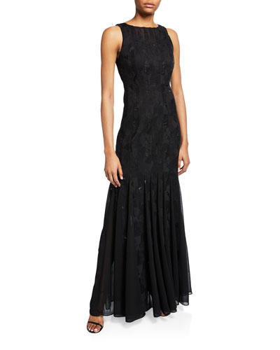Sleeveless Boatneck Crepe Strip Gown