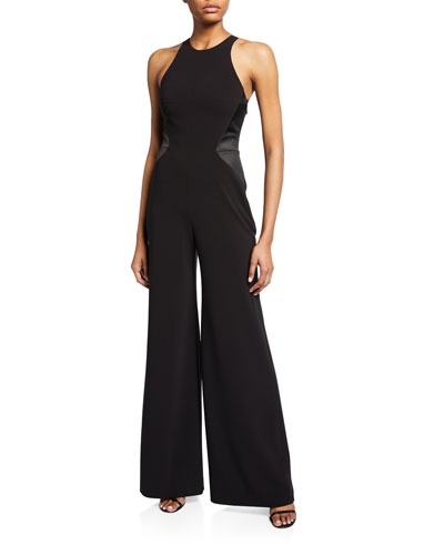 Halter-Neck Strappy-Back Wide-Leg Crepe Jumpsuit