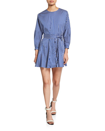 Striped Long-Sleeve Godet Skirt Mini Dress