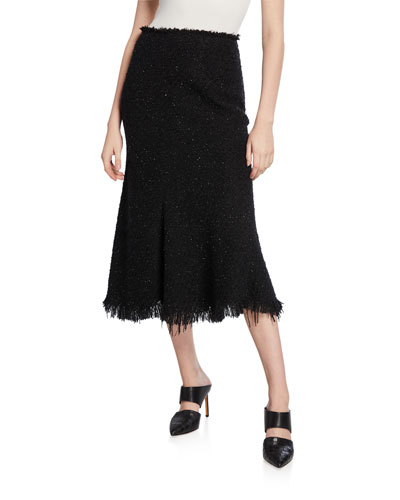 Shimmery Tweed A-Line Midi Skirt with Frayed Edges