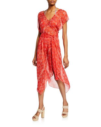 Serena Snake-Print Handkerchief Coverup Dress
