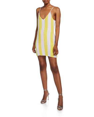 Claire Sequin Striped Dress