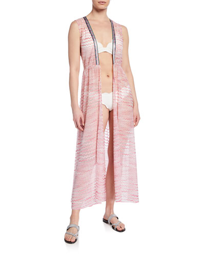 Sleeveless Tie-Front Long Coverup