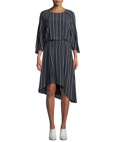 Gabisa Asymmetric Striped Dress